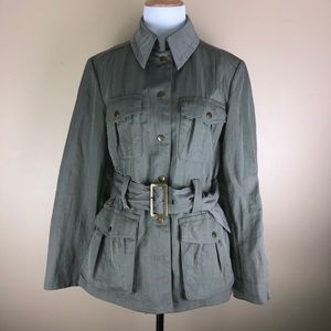 J.Jill Green Button Down, Buckle Trench Coat Small